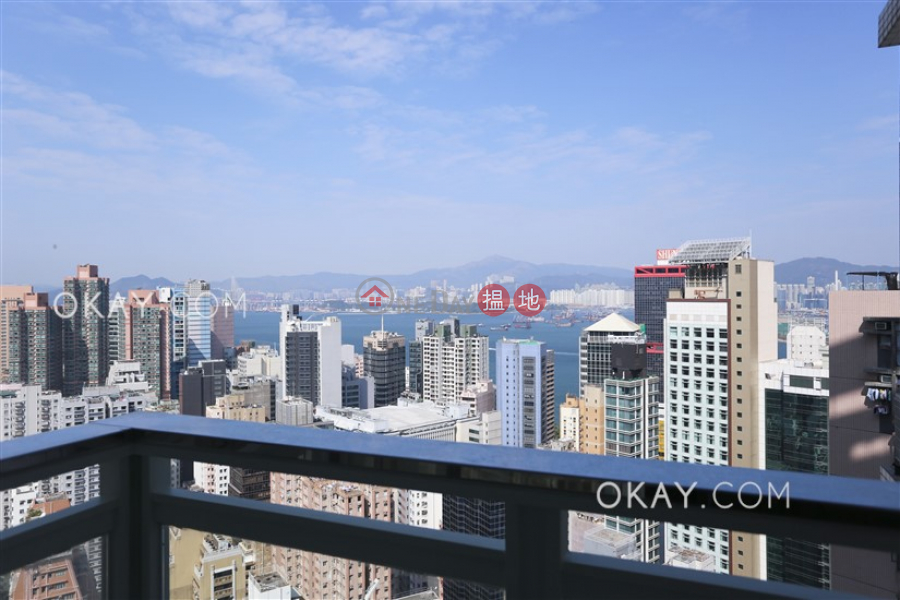 HK$ 45,000/ month   Centrestage Central District Elegant 3 bed on high floor with sea views & balcony   Rental